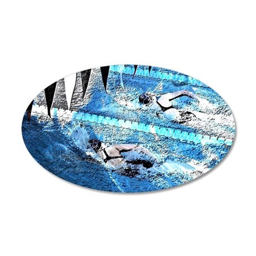 Swim meet in blue 35x21 Oval Wall Decal