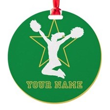 Green Cheerleader Ornament