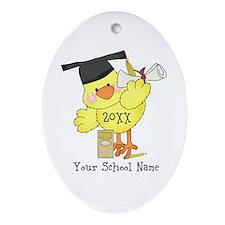 PD Graduation Chick Ornament (Oval)