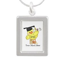PD Graduation Chick Silver Portrait Necklace