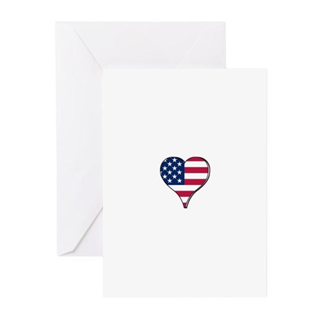 USA Flag heart Greeting Cards (Pk of 10)