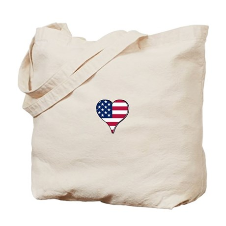 USA Flag heart Tote Bag