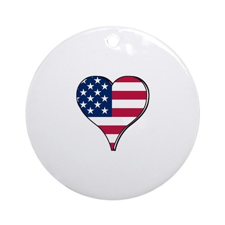 USA Flag heart Ornament (Round)