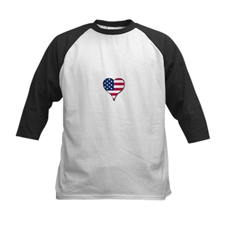 USA Flag heart t-shirt Kids Baseball Jersey