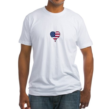 USA Flag heart t-shirt Fitted T-Shirt