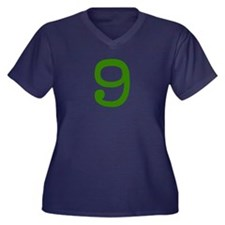 GREEN #9 Women's Plus Size V-Neck Dark T-Shirt