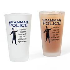Grammar Police Drinking Glass