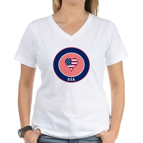 I heart USA t-shirt Women's V-Neck T-Shirt