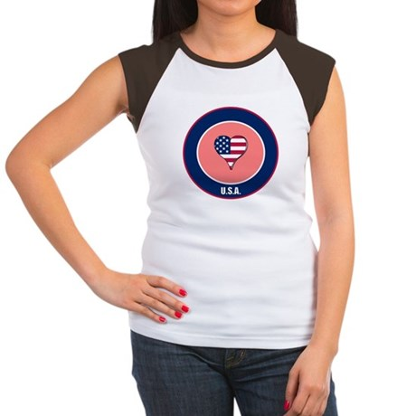 I heart USA t-shirt Women's Cap Sleeve T-Shirt