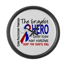 Pulmonary Fibrosis Bravest Hero I Large Wall Clock