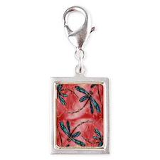 Dragonflies Tangerine Sky Silver Portrait Charm