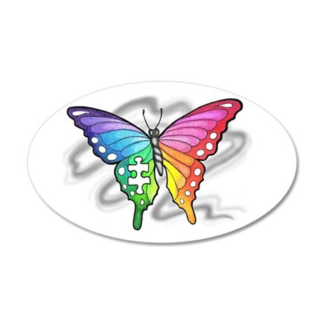 Rainbow butterfly with Puzzl 35x21 Oval Wall Decal