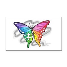 Rainbow butterfly with Puzzle Rectangle Car Magnet
