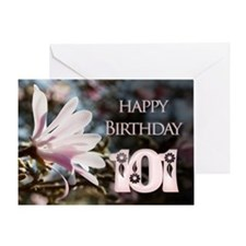 101st birthday card with magnolias Greeting Cards