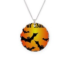 Personalized Halloween Bats Necklace Circle Charm