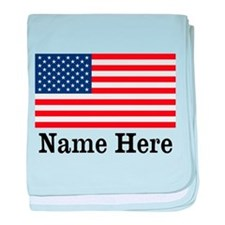 Personalized American Flag baby blanket