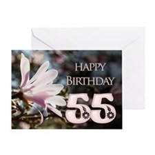 55th birthday card with magnolias Greeting Cards
