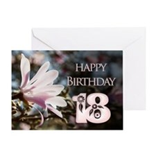 18th birthday card with magnolias Greeting Cards