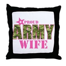 Camo Proud Army Wife Throw Pillow
