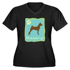 basenji Women's Plus Size V-Neck Dark T-Shirt