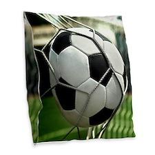 Soccer Goal Burlap Throw Pillow