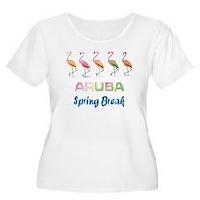 Tropical Flamingos ARUBA Spring Break Plus Size T-