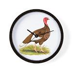 Bourbon Red Hen Turkey Wall Clock