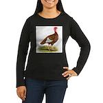 Bourbon Red Hen Turkey Women's Long Sleeve Dark T-