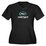 PKR Poker Nation Women's Plus Size V-Neck Dark T-S