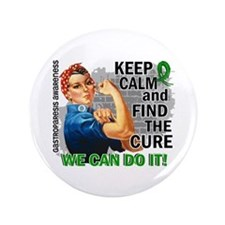 "Gastroparesis Rosie Keep Calm 3.5"" Button"