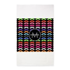 Girly Colorful Mustache Pattern Monogram 3'x5' Are