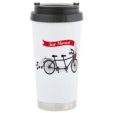 Just married, wedding tandem bicycle Travel Mug