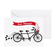 Just married, wedding tandem bicycle Greeting Card