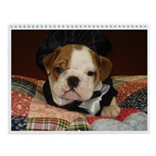 Cute English bulldog art Wall Calendar