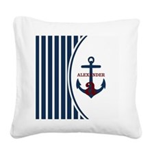 Anchor and Stripes Monogram Square Canvas Pillow