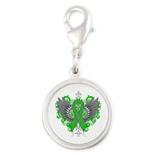 TBI Wings Silver Round Charm