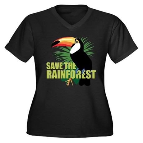 Save The Rainforest Women's Plus Size V-Neck Dark