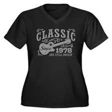 Classic Sinc Women's Plus Size V-Neck Dark T-Shirt