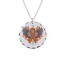 Multiple Sclerosis Wings Necklace Circle Charm