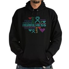 Ovarian Cancer Colorful Slogans Hoodie