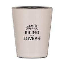 biking is for lovers Shot Glass