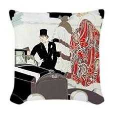 Art Deco Gatsby Scene Woven Throw Pillow