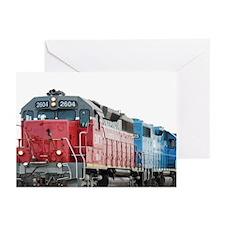 Train Blanket Blank Greeting Cards