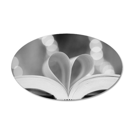 Book Heart 35x21 Oval Wall Decal