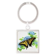 Watercolor Swallowtail Butterfly and Blue Hydrenge