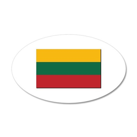 Flag of Lithuania - NO Text 35x21 Oval Wall Decal