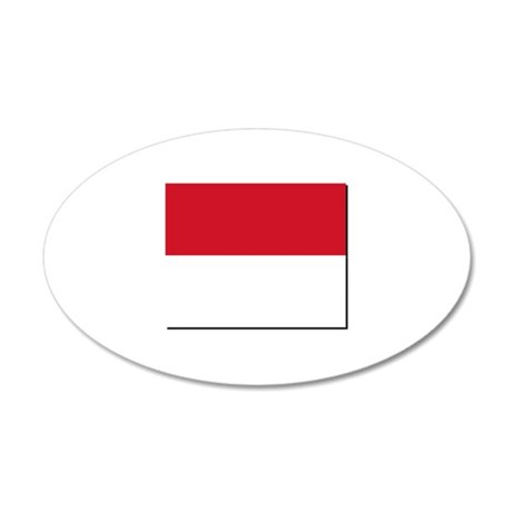 Flag of Monaco NO Txt 35x21 Oval Wall Decal