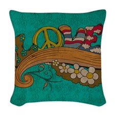 Peace and Love Woven Throw Pillow