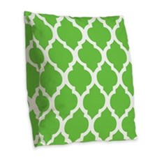 Pretty green geometric pillow design Burlap Throw