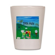 Golf 19th hole art Shot Glass